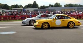 Porsche 911 Turbo 997 vs Porsche 964 RS (1/4 Mile Drag Race Viertelmeile Re ...